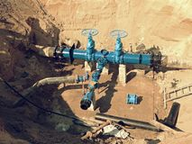 Reconstruction of main City water supply pipeline in underground. Stock Photography
