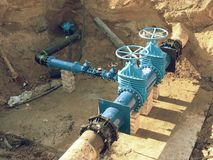 Reconstruction of main City water supply pipeline in underground. Royalty Free Stock Photo
