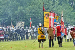 Reconstruction of medieval battle of 1477 Royalty Free Stock Image