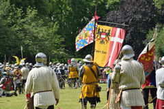 Reconstruction of medieval battle of 1477 near Antwerp Stock Photography