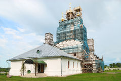 Reconstruction of medieval Russian church Royalty Free Stock Photos