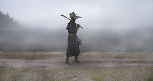 Reconstruction of the medieval scene: the plague doctor on the w