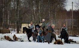 reconstruction Militaire-historique des combats des périodes de la première guerre mondiale, Borodino, le 13 mars 2016 Images libres de droits