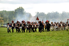 Reconstruction of military battle under Borodino Stock Photo