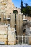 Reconstruction of the Odeon of Herodes Atticus near the Acropolis of Athens with wet dirty swathes of fabric hanging from scaffold stock photo