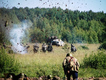 Free Reconstruction Of The Battle On The Road To Moscow During World War 2 In The Kaluga Region In Russia. Stock Photography - 73626302