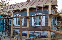 Reconstruction of the old house, building plot royalty free stock photo
