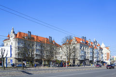 Reconstruction of old houses in the center of Kaliningrad. KALININGRAD, RUSSIA - MARCH 30, 2017:  in the city centre on Leninsky Prospekt the old `Khrushchev,` Stock Image