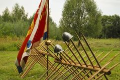 Reconstruction of the Old Russian battle stock images