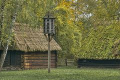 Reconstruction of the old village royalty free stock photography