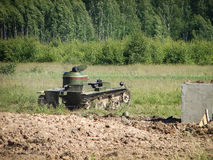 Reconstruction of one of the battles of World war 2 on the Eastern front in the Kaluga region in Russia. Stock Photo