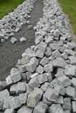 Reconstruction of a pack sidewalk with cobbles Stock Images