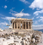 Reconstruction of Parthenon Temple in Acropolis of Athens Royalty Free Stock Image