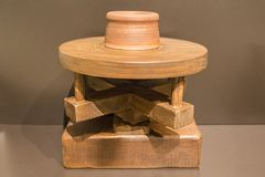 Reconstruction of primitive potter wheel Royalty Free Stock Photography