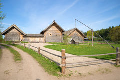 Reconstruction of a prosperous peasant farmsteads of the eighteenth century. The village Bugrovo, Pushkinskie Gory, Russia Royalty Free Stock Images