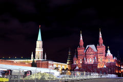 Reconstruction of Red Square at night Stock Photos