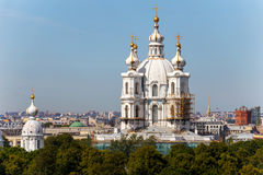 Reconstruction of Russian orthodox cathedral (Smolny cathedral). In Saint-Petersburg, Russia Stock Photos