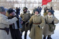 Reconstruction of the Second World War in Voronezh Stock Photos