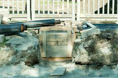 Reconstruction of sewerage system on the street. Stock Image
