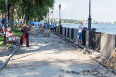 Reconstruction of the sidewalk on the waterfront river Don. Laying sidewalk on the waterfront of river Don in Rostov-on-Don, jule 2016 Royalty Free Stock Photo