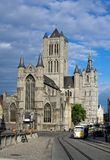 Reconstruction of Sint-Niklaaskerk in Ghent City Royalty Free Stock Photo