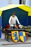 Reconstruction of Swedish medieval armor on holiday stock images