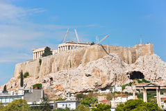 Reconstruction of temples on Acropolis hill, Athens Stock Photography