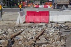 Reconstruction of tram tracks 2 Stock Photos