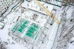 Reconstruction of urban residential area. aerial top view of building construction royalty free stock photo