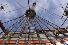 Reconstruction of the VOC ship The Batavia. Mast and crow's nest of the VOC ship The Batavia Stock Photos