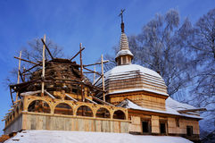 Reconstruction of  wooden Orthodox church Stock Images