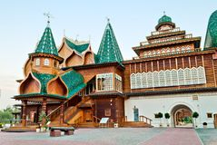 Reconstruction of the Wooden palace. A modern reconstruction of the Wooden palace in Kolomenskoye, Moscow, Russia Stock Photos