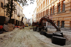 Reconstruction works on the street Stock Photography