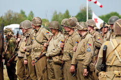 Reconstruction of World War 2. American soldiers Royalty Free Stock Photos
