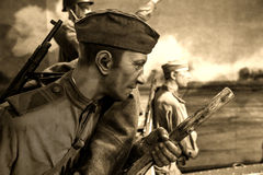 Reconstruction of the World War 2 in the Minsk museum of Great Patriotic War. Stock Image
