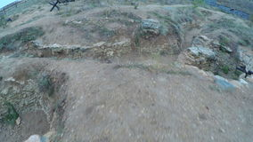 Reconstruction WWII battlefield stock footage