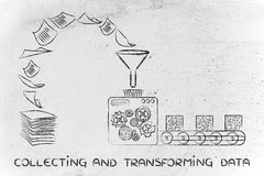 Recopilación de datos y transformación: máquinas de la fábrica que dan vuelta al doc. Fotografía de archivo