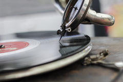 Record. Old good LP on gramophone in natural tones Royalty Free Stock Photo