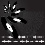 Record. Vinyl records and some sound waves Royalty Free Stock Images