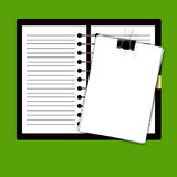 Record book and paper Royalty Free Stock Image