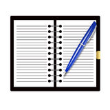 Record book and pen Royalty Free Stock Photos