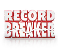 Record Breaker 3D Words Historic Best Score Results. Record Breaker 3D words top or best score in competition to illustrate winning a game or challenge Stock Photo