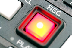 Record button. A record button at a professionell broadcast vcr Stock Images