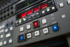 Record button. Button at a professionell broadcast vcr Royalty Free Stock Photos