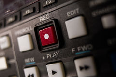 Record button. A record button at a professionell broadcast vcr Royalty Free Stock Photo