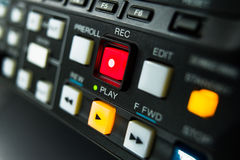 Record button. Being recorded A record button at a professionell broadcast vcr Royalty Free Stock Image