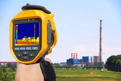 Record at the Chimney of energy station with thermal cameras Royalty Free Stock Photos