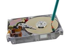 Record of data. Symbolic record of data on hard disc Stock Photo