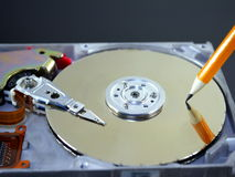 Record of data. Symbolic record of data on hard disc Stock Photography