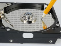 Record of data. Symbolic record of data on hard disc Stock Images